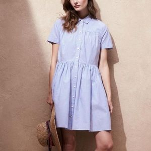 New York stripe poplin swing shirt dress